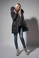 Зимняя женская парка. Код К-110/Ч-62-18. Цвет черный джинс.