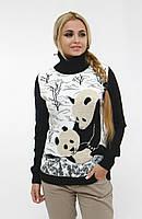 Модный женский теплый свитер под горло с пандой