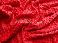 Ткань плюш для пледов Minky красный