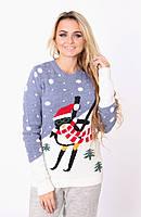Женский красивый вязаный свитер снеговик