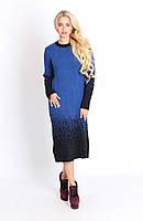 Красивое платье градиент машинная вязка 46-50 размер