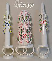 Набор свадебных резных свечей