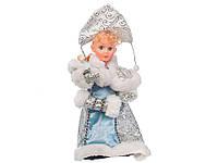 Снегурочка музыкальная в шубке и кокошнике 30 см