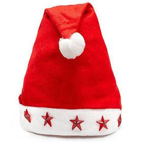 Новогодняя шапка Дед мороза со звездочками (светится)