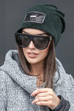 Женская шапка с молниями и пайетками, фото 2