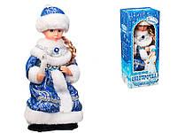 Снегурочка музыкальная в сине-белой шубке и шапочке 30 см