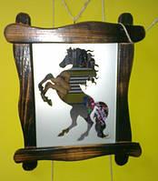 Интерьерная зеркальная картина в деревянной рамке, фото 1