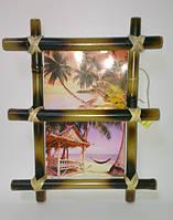 Рамка бамбуковая для фотографий и картин для 2-х фотографий