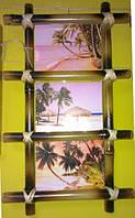 Рамка бамбуковая для фотографий и картин для 3-х фото