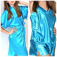 Пижама атлас и халатик в комплекте. Акция 1+1=3.
