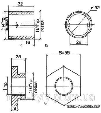 Ниппель и проходная пробка чугунного радиатора