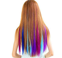 Цветная накладная прядь на заколке клипсе, прямые волосы, цвет голубой