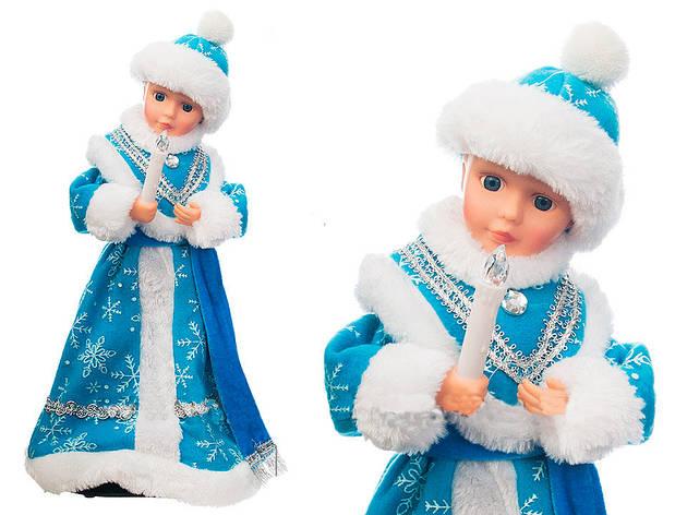 Снегурочка музыкальная в голубо-белой шубке и шапочке 40 см, фото 2