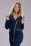 Теплая трикотажная куртка женская Косуха (темно-синяя)