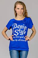 """Трикотажная футболка с принтом """"Реглан"""" (голубой) (голубой) Denim Style"""