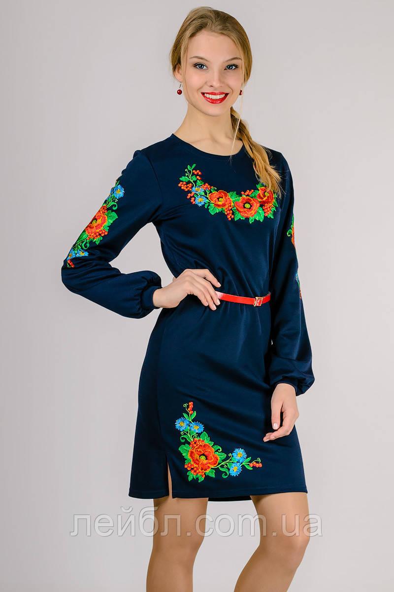 Платье вышиванка Калина с длинным рукавом