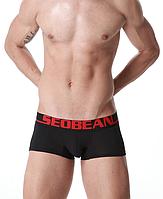 Трусы боксеры мужские черного цвета с красными буквами Seobean. Код:SB14