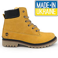 Желтые мужские ботинки Timberland 103 зимние с мехом (Тимберленд)
