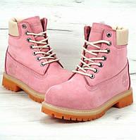 Женские зимние ботинки Timberland 6 inch Pink С МЕХОМ, ботинки тимберленд