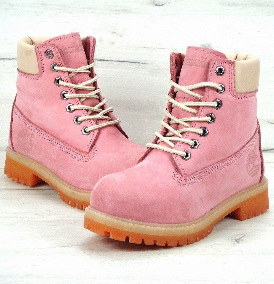 Женские зимние ботинки в стиле Timberland 6 inch Pink С МЕХОМ