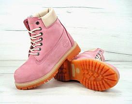 Женские зимние ботинки в стиле Timberland 6 inch Pink С МЕХОМ, фото 3