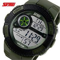 Часы спортивные Skmei 1027 Милитари Водостойкие Дата Секундомер Цвет зеленый (Хаки) Видео