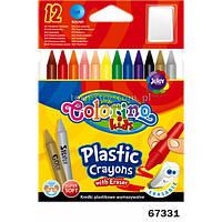 Карандаши стираемые пластиковые с резинкой 12 цветов Colorino