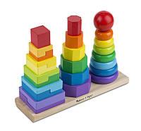 Деревянная развивающая игрушка геометрическая пирамидка 3в1 для детей от 2 лет ТМ Melissa & Doug MD10567