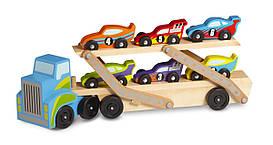 Деревянный мегатягач автомобилей для мальчика с 3 лет /Mega Race-Car Carrier ТМ Melissa & Doug MD12759