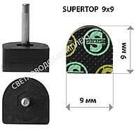 Набойки полиуретановые SUPERTOP, штырь 2.5 мм, р. 9*9 мм, цв. черный