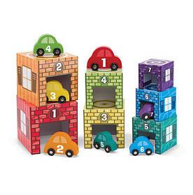 """Набор блоков-кубов """"Автомобили и гаражи"""" для мальчика с 2 лет Nesting & Sorting Garages & Cars ТМ Melissa & Doug MD12435"""
