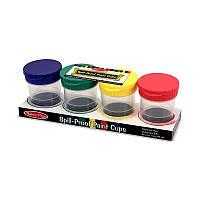 Набор баночек-непроливаек, 4 шт. с держателями для кисточек и крышками /Spill-Proof Paint Cups ТМ Melissa & Doug MD11623