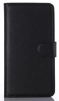 Кожаный чехол-книжка для  Motorola moto E2 черный