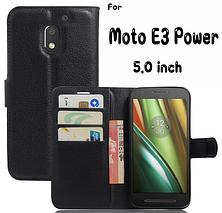 Кожаный чехол-книжка для Motorola Moto E3 Power черный, фото 3