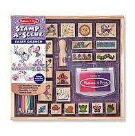 """Набор штампов """"Феи"""" для девочек с 4 лет /Stamp-a-Scene - Fairy Garden (20 деревянных печатей) ТМ Melissa & Doug MD12424, фото 1"""