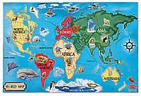 """Напольный пазл в коробке """"Карта мира"""" для детей от 6 лет (World Map Floor; 33 эл.) ТМ Melissa & Doug MD10446"""