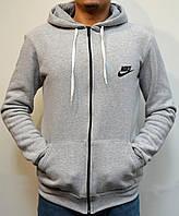 Мужская кофта с капюшоном, толстовка Nike (Найк) | трикотаж, трехнитка, светло-серая