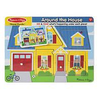 """Рамка-вкладыш звуковой пазл """"Вокруг дома"""" для детей от 2 лет /Around the House ТМ Melissa & Doug MD10734"""