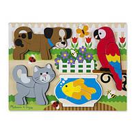 """Рамка-вкладыш Формовой пазл """"Домашние животные"""" для детей с 2 лет /Chunky Jigsaw Puzzle - Pets ТМ Melissa & Doug MD11890"""