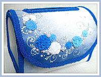 Сундук для денег синий с лепкой