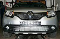 Декоративно-защитная сетка радиатора Renault Sandero Stepway II   фальшрадиаторная решетка, бампер, фото 1