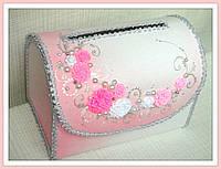 Сундук для денег розовый с лепкой