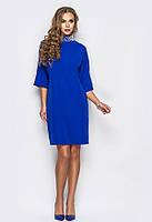 Элегантное синее платье со стразами на воротнике
