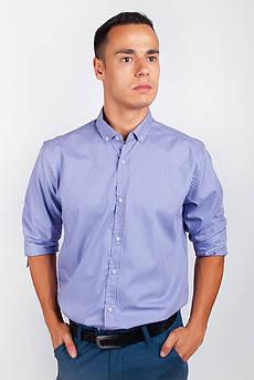 Рубашка с длинным рукавом однотонная №208F008 (Сиреневый)
