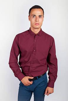 Рубашка с длинным рукавом однотонная №208F008 (Бордо)