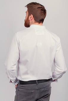 Рубашка с длинным рукавом однотонная №208F008 (Белый)