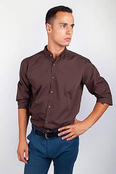 Рубашка с длинным рукавом однотонная №208F008 (Шоколадный)