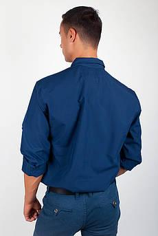 Рубашка с длинным рукавом однотонная №208F008 (Синий)