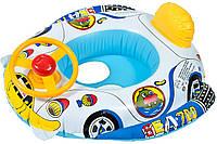 Детская надувная лодка с рулем круг для плавания