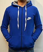 Мужская толстовка Nike (Найк) / Утепленная спортивная кофта с капюшоном, Трикотаж трехника  - ярко-синяя